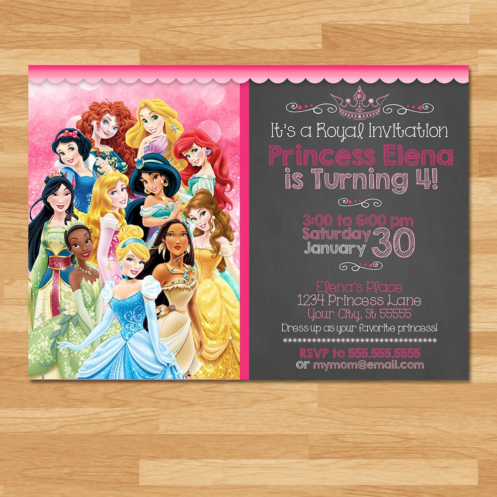 Disney Princess Invitation Chalkboard Princesses Invite