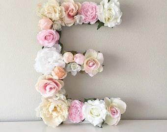 """Large Floral Letter, Large Flower Letter, Floral Monogram, Floral Number, Shabby Chic Decor, Vintage Wedding, Girl Nursery Letter, 19"""" 24"""""""