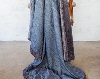 Chambray Throw Blanket, Blue, Throw Blanket, Blue Blanket, Denim Blanket. Chambray Blanket, Paisley Decor, Gray Blue