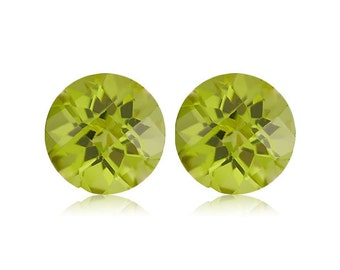 0.50-0.60 Cts of 4 mm AAA Round Checkered Board Chinese Peridot (2 pcs) Loose Gemstones-393424