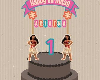 Moana Cake Topper, Moana Banderin, Moana Birthday, Moana Party, Moana Printable Cake Topper, Moana Custom Cake Topper, Moana Topper.