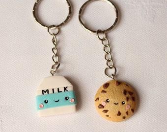 BFF Cookie and milk friendship keychain necklace Cookie necklace  Miniature food jewelry  Best friend keychain  Kawaii keychains