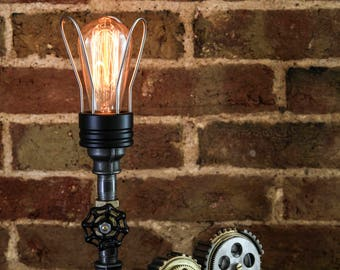 Handcrafted Industrial/Steampunk Lamp with Gear Details
