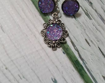 Open Ocean Exhibit Faux Druzy Gems Jewelry, Purple Druzy, Birthstone Jewelry, Alexandrite, Druzy Earring, Druzy Pendant