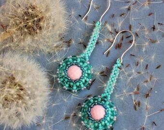 Long Seed bead earrings, Beaded jewelry, Turquoise Beadwork earrings, Seed bead jewelry, Pastel pink Gemstone earrings, Coral, Beadwoven
