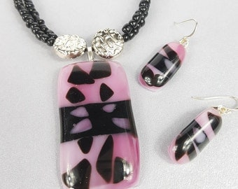 Jewellery Set- Pink and Black Fused Glass Pendant and Sterling Silver Dangle Earring set with black and Silver Beads.
