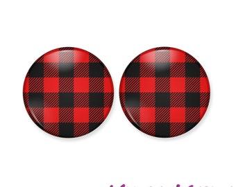 Buffalo Plaid Earrings, Red Buffalo Checker, Button Earrings, Stud Earrings, Red Plaid, Red Flannel, Lumberjack Earrings, Hipster