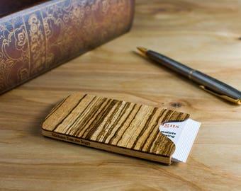 FLASH SALE Handmade Wooden Business Card Holder Zebrawood