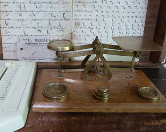 stunning antique brass post office / letters / mail / postal scales  / made in england / rustic scales / vintage scales / antique scales