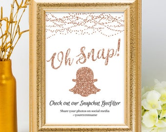 Printable Rose Gold Glitter Look String Lights Geofilter Wedding Event Hashtag Sign, 2 Sizes, Editable PDF Instant Download