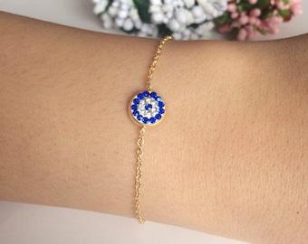 Gold evil eye bracelet, evil eye bracelet, tiny evil eye, protection bracelet, gold evil eye charms, evil eye beads, adjustable bracelet