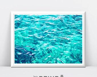 Tropical Water Photography, Printable Wall Art Print, Modern, Blue Turquoise Home Decor, Coastal Decor, Tropical Water Print, Water Poster