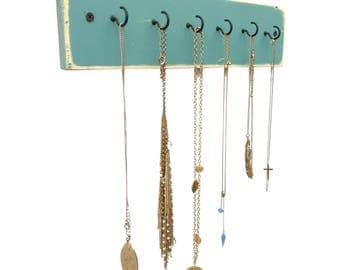 Beach House Necklace Display - necklace holder wall jewelry display jewelry holder hanging jewelry organizer necklace wall hanger wall hooks