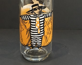 Vintage Hamburglar Glass, Collector Series, McDonald , Mcdonaldland, Tumbler , Cup , McDonalds Glass , Child , Retro