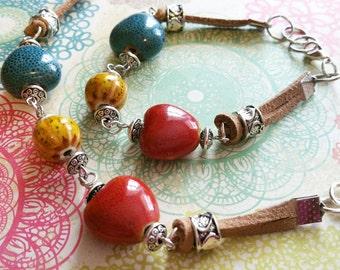 Ceramic Bead Bracelet / Bead Bracelet / Leather Bracelet / Silver Bead Bracelet