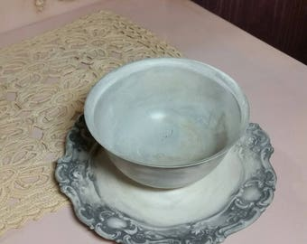 Vintage Silverplate Bowl with attached saucer