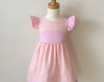 Girls Pink Tea Party Dress with ruffle sleeves Size 1, Cotton & Gingham Dress, Flutter Sleeve Dress, Yoke Dress, READY TO SHIP