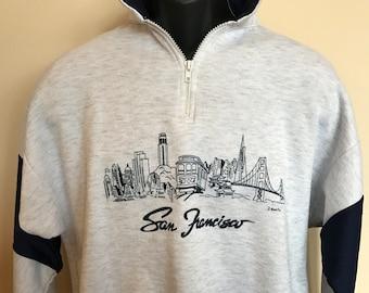 90s San Francisco California Sweatshirt Vintage Half Zipper Pullover Jacket Coat City Blues Trolley Golden Gate Bridge J Bonilla MADE IN USA