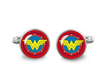 Wonder Woman Cuff Links Superhero Cuff Links 16mm Cufflinks Gift for Men Groomsmen Novelty Cuff links Fandom Jewelry