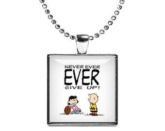 Lucy van Pelt Charlie Brown Necklace Never ever give up Square Pendant Snoopy Necklace