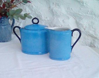 Vintage Czechoslovakia milk jug and lidded sugar bowl, Union K art deco.