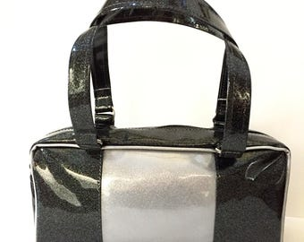 Black and Silver Sparkle Purse, Glitter Auto Upholstery Vinyl, Retro Shoulder Bag Tote