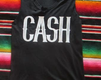 CASH/ Johnny Cash/ Tattered & Torn Vintage muscle tank