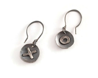 X's & O's Earrings*   Rustic Charm, Artisan Blackened Oxidized Silver Earrings,