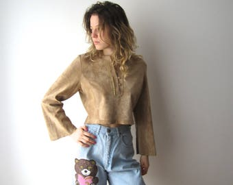 Beige Leather Shirt Long Flared Sleeve Leather Top Cropped Suede Sweater Large Size Leather Blouse Western Cowboy Shirt Ranch Leather Shirt