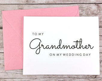 To My Grandmother On My Wedding Day Card, Grandma Card, Wedding Day Card, Grandmother Card, Grandmother Gift  - (FPS0016)