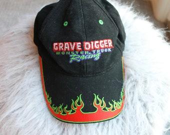 GRAVE DIGGER Monster Truck Racing vintage flame fire baseball cap hat