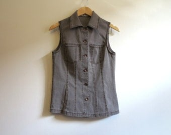 Vintage Womens Denim Vest Grey Jeans Waistcoat Fitted Vest Sleeveless Long Vest Small Size