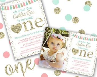 Oh What Fun First Birthday Invitation, Pink Mint Gold First Birthday Invitation, Gold Confetti, Printable Birthday Invitation