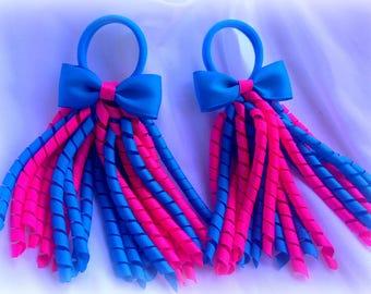 Korker Bow Korker Hair Bow Korker Clip Pink Blue Korker Bow Pink Korker Cip Birthday Bow Blue Baby Bow Streamer Bow Summer Hair Bow Girl Bow