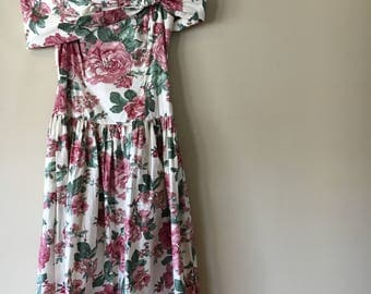 Vintage 1980's Gunne Sax Floral Mid Lenght Dress Off the Shoulder Party Dress 5/6