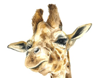 Giraffe watercolor print, Giraffe art print, Giraffe painting, Giraffe print, Giraffe art, Giraffe nursery art, Safari watercolor print