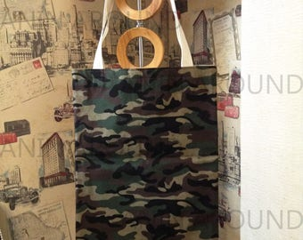 Green Camouflage canvas tote bag.