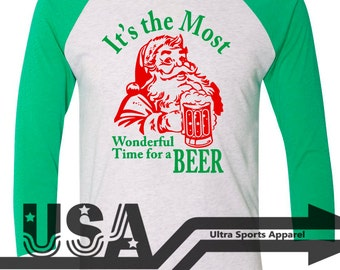 Custom - It's The Most Wonderful Time For A Beer - Holiday Christmas 3/4 Sleeve Raglan T-Shirt