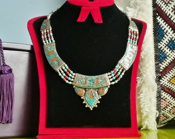 Ethnic necklace - Turquoise / coral / lapis lazuli - handmade