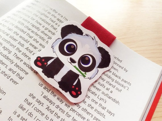 Panda magnetic bookmark, panda bookmark, magnetic bookmark, cute panda bookmark, cute magnetic bookmark, page marker, book reader gift