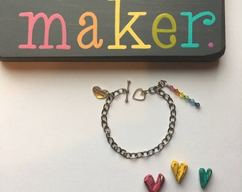CUSTOMIZABLE Makers Charm Bracelet, Crafters Bracelet, Artist Bracelet, Charm Bracelet, Silver Bracelet, Bracelet, Silver Charms, Charms