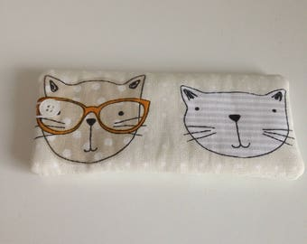 Cat Spectacle case, Cat Glasses Case, Spectacle pouch, Glasses Pouch,  Reading Glasses Case, Soft Glasses Pouch