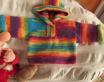 Handmade Crochet Baby Boy/Girl Hoodie    Size Preemie/0-3 Months