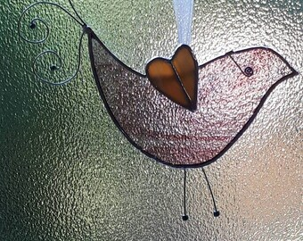 Whimsical Stained Glass Bird suncatcher wire bead detail Mothers day gift Birthday Anniversary Wedding Engagement House warming nature gift
