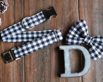 Black and White Dog Collar, Winter Dog Collar, Holiday, Winter, Silver Buckle, Dog Collar, Lumberjack Dog Collar, Plaid Collar, dog