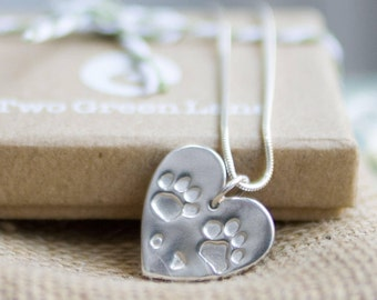 Fine Silver paw print necklace with your 2 of your pet's actual paw prints