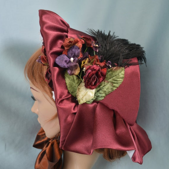 Victorian Style Hats, Bonnets, Caps, Patterns Dickens Fair Approved Spoon Bonnet Cranberry Color $135.00 AT vintagedancer.com