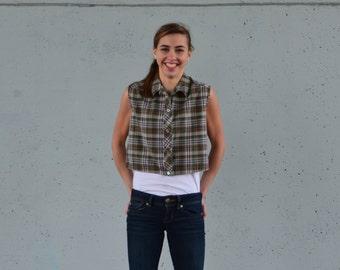 1950s Crop Top | blouse | button up 1950s shirt | Size xs-s