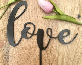 Calligraphy Love Wedding Cake Topper 3D Printed, Wedding Topper, Wedding Decor, Custom Cake Topper