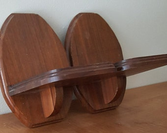 Vintage Wall Sconce~Pair Wall Sconces Made with Cherry Wood in USA~Entryway Display Sconce~Wooden Wall Sconce